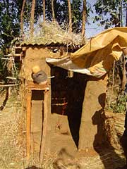 Typical household latrine in the Amhara region, Ethiopia.