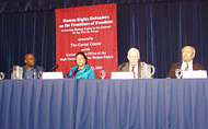 Joining former U.S. President Jimmy Carter at the press conference were (from left to right): Dr. Willy Mutunga, executive director of Kenya Human Rights Commission; Ms. Jilani; and Dr. Saad Eddin Ibrahim of Egypt, an activist and professor at the American University in Cairo.