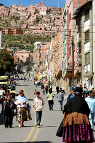 Quiet and orderly streets of La Paz, Bolivia.