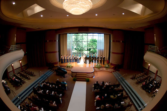 a wedding held in the Cecil B. Day chapel