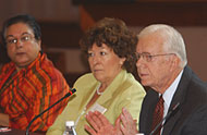 President Jimmy Carter with co-chair and U.N. High Commissioner for Human Rights Louise Arbour (c.), and Hina Jilani (l.), U.N. Special Representative to the Secretary General on Human Rights Defenders.
