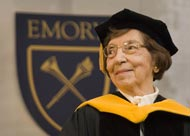 Beverly Benson Long receives the honorary Doctor of Science degree during Emory University's 162nd commencement ceremony.