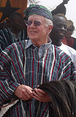 President Carter and the delegation arrive Feb. 4, 2004, in the vilage of Dashei in northern Ghana.