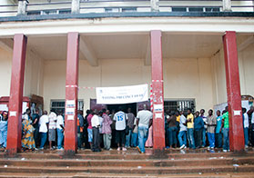 Photo of a large crowd in Liberia as they wait in line to vote.