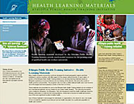 Screenshot of the Ethiopia Public Health Training Initiative's health education materials webpage.