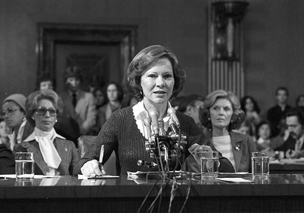 Rosalynn Carter testifies on behalf of the President's Commission on Mental Health before the Senate Subcommittee on Health and Scientific Research of the Committee on Labor and Human Resources on February 7, 1979.