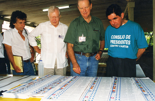 Former U.S. President Jimmy Carter, former Secretary of State James Baker, and former Cost Rica President Oscar Arias led a Carter Center delegation to monitor the October 1996 national election in Nicaragua.