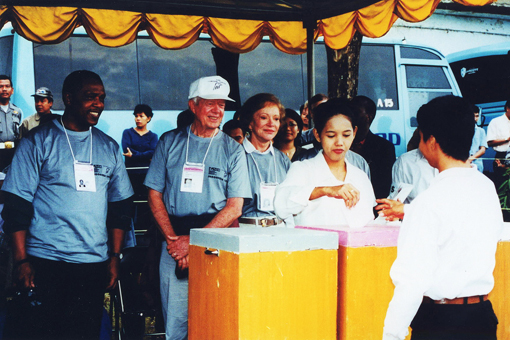 President and Mrs. Carter observing the Indonesian elections, June 5-9, 1999.