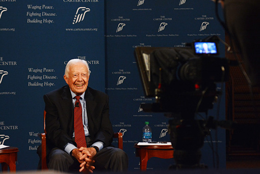 On Sept. 10, 2013, former U.S. President Jimmy Carter participates in an online video discussion about challenges facing global health. The discussion was hosted on Google+, and President Carter was joined by New York Times op-ed columnist Nicholas Kristof in New York and Carter Center disease eradication specialist Dr. Donald Hopkins in Chicago.