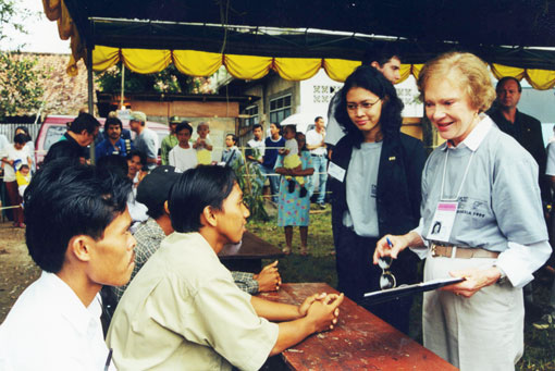Former First Lady Rosalynn Carter observes at an Indonesian polling station in June 1999.