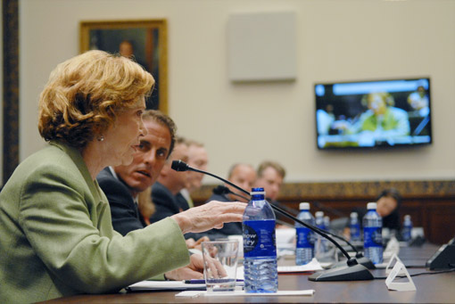 Former First Lady Rosalynn Carter testifies in favor of the Wellstone Act before a House Education and Labor Subcommittee.