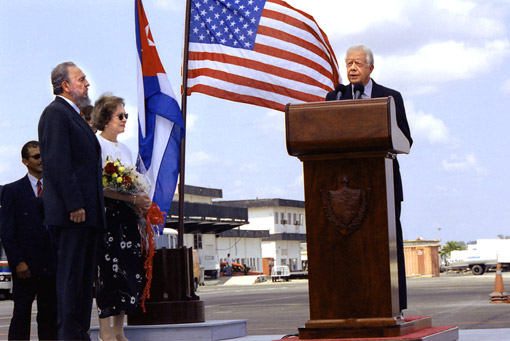 President Carter, joined by his wife, Rosalynn,and President Castro, gives an unprecedented live speech broadcast on Cuban television.