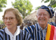 Rosalynn Carter wears traditional Ghanaian attire, a gift from the chief of Tingoli village in northern Ghana.