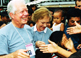 Children greet former U.S. President Jimmy Carter and former First Lady Rosalynn Carter during the Carter Center's observation of Indonesian elections.