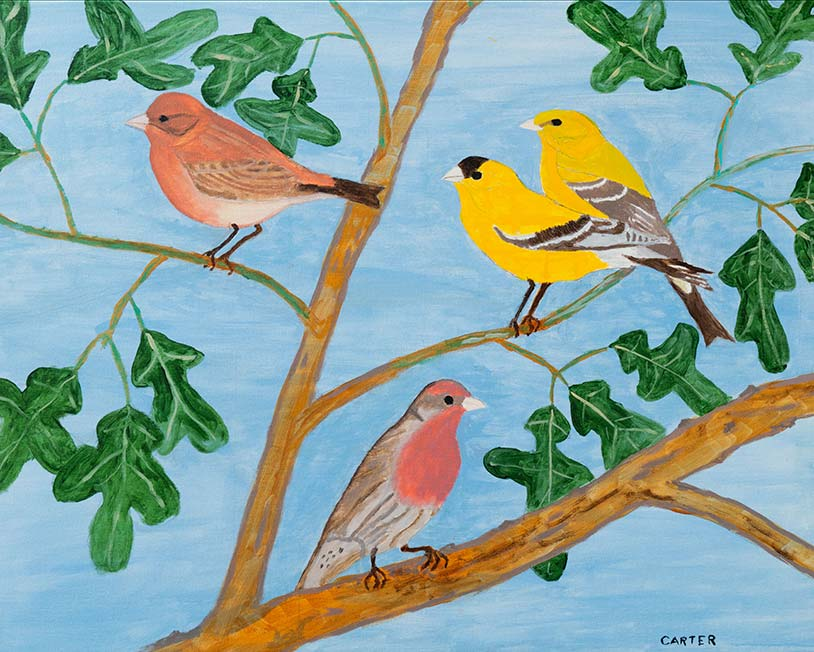 Painting of birds on branches with blue sky background.