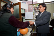 Rita Jimenez Huancollo meets with a client.