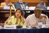 Karen Tse, an international human rights attorney and Unitarian Universalist minister, discusses her experiences at the Human Rights Defenders Policy Forum as Imam Talib 'Abdur-Rashid of the Mosque of Islamic Brotherhood in Harlem, New York, listens.