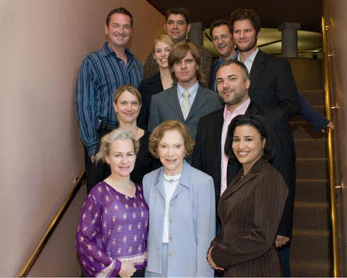 Rosalynn Carter and the 2007-2008 mental health journalism fellows