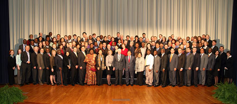 Participants of the International Conference on the Right to Public Information gather for a photo with President Carter.