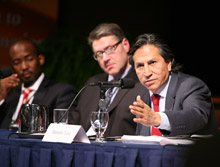 Photo of Former Peruvian President Alejandro Toledo at the International Conference on the Right to Public Information.
