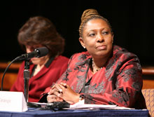 Olivia Grange, Jamaican minister of information, youth, culture and sports, chairs a plenary session at the International Conference on the Right to Public Information.