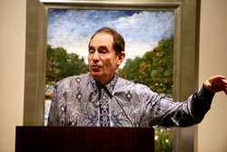 Justice Albie Sachs of the South African Constitutional Court gives a keynote speech at the Federal Reserve Bank dinner, in conjuction with the International Conference on the Right to Public Information.
